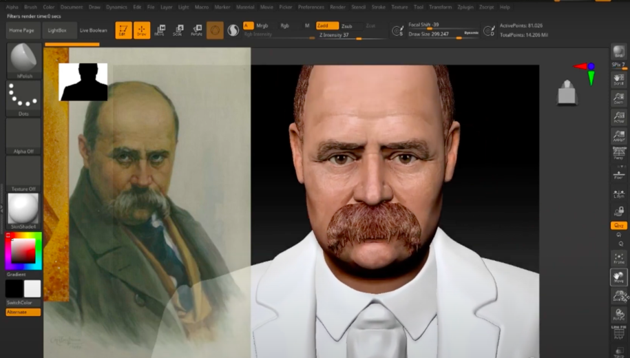 STAGES OF CREATION OF TARAS SHEVCHENKO IN 3D